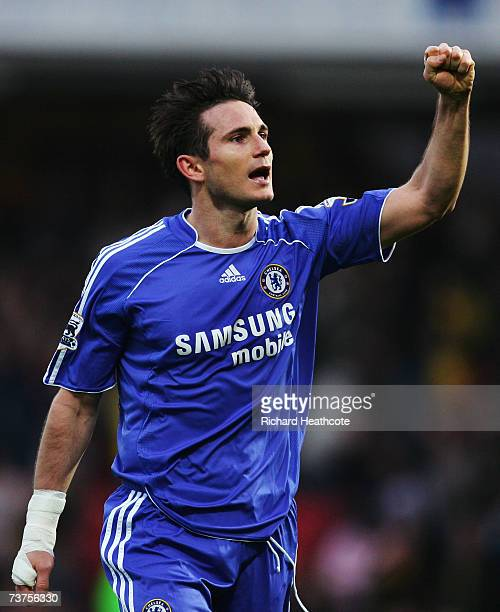 Frank Lampard of Chelsea celebrates after the Barclays Premiership match between Watford and Chelsea at Vicarage Road on March 31 2007 in Watford...