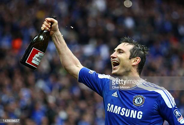 Frank Lampard of Chelsea celebrates after the FA Cup with Budweiser Final match between Liverpool and Chelsea at Wembley Stadium on May 5, 2012 in...