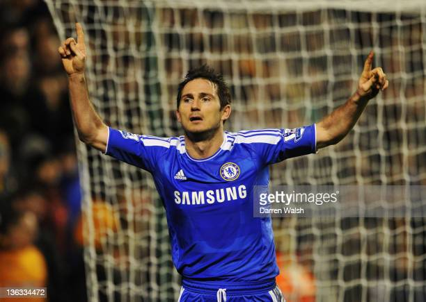 Frank Lampard of Chelsea celebrates as he scores their second goal during the Barclays Premier League match between Wolverhampton Wanderers and...