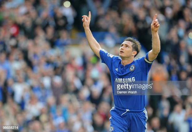 Frank Lampard of Chelsea celebrates as he scores their third goal from the penalty spot during the Barclays Premier League match between Chelsea and...