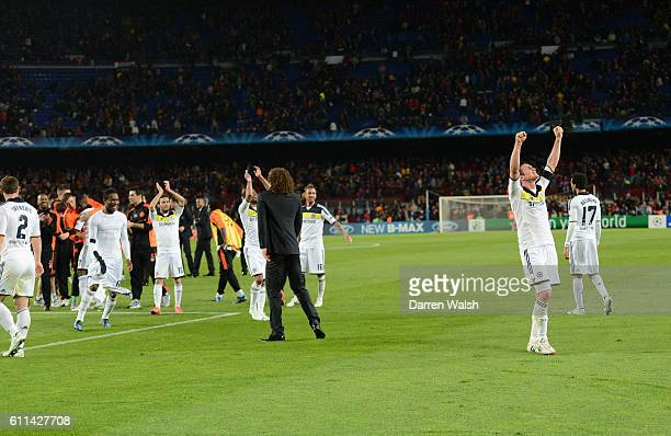 Frank Lampard of Chelsea celebrates at the end during the UEFA Champions League Semi Final second leg match between FC Barcelona and Chelsea FC at...