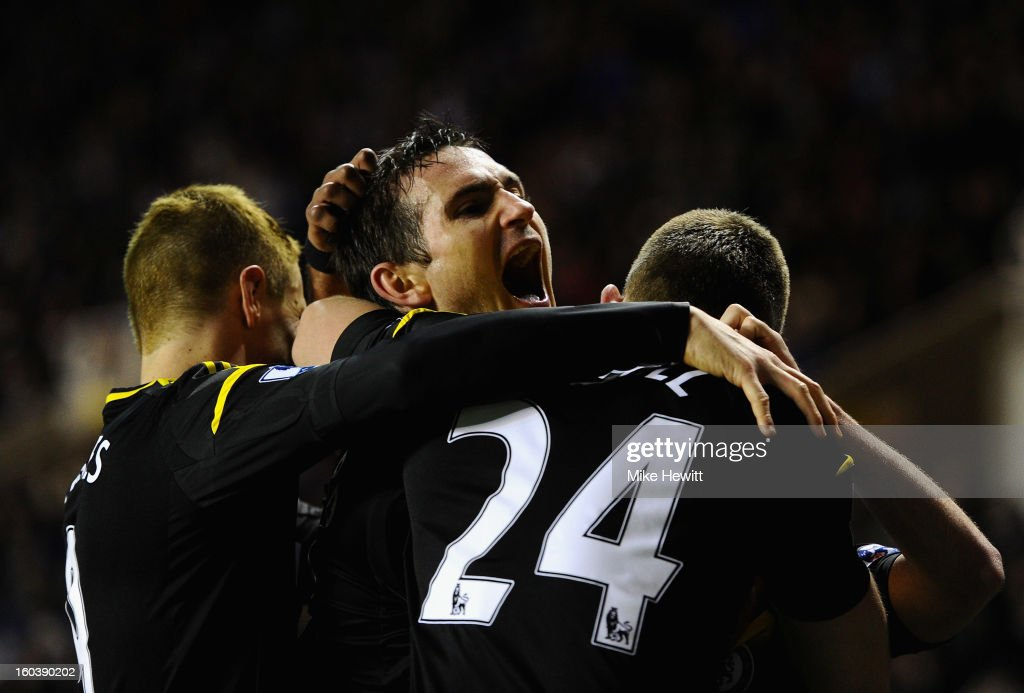 Frank Lampard of Chelsea celebrates his goal during the Barclays Premier League match between Reading and Chelsea at Madejski Stadium on January 30, 2013 in Reading, England.