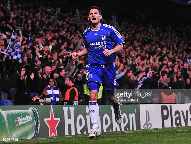 Frank Lampard of Chelsea celebrates his goal during the UEFA Champions League Quarter Final 2nd Leg match between Chelsea and Fenerbahce at Stamford...