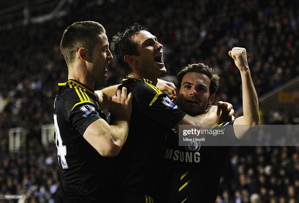 Frank Lampard (C) of Chelsea celebrates his goal with Gary Cahill and Juan Mata (R) during the Barclays Premier League match between Reading and Chelsea at Madejski Stadium on January 30, 2013 in Reading, England.