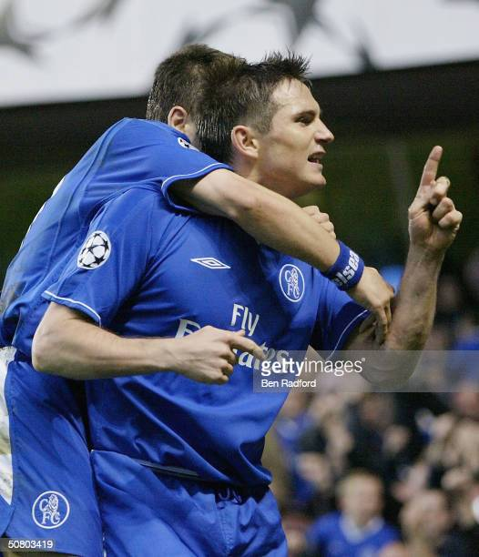 Frank Lampard of Chelsea celebrates scoring a goal during the UEFA Champions League Semi Final second-leg match between Chelsea and AS Monaco at...