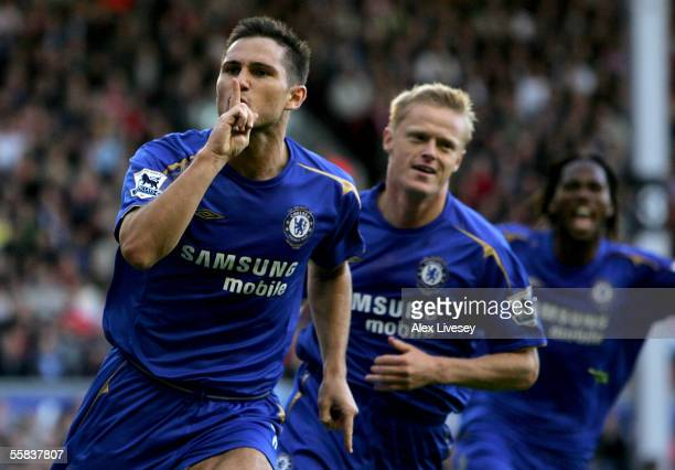 Frank Lampard of Chelsea celebrates scoring a penalty during the Barclays Premiership match between Liverpool and Chelsea at Anfield on October 2...