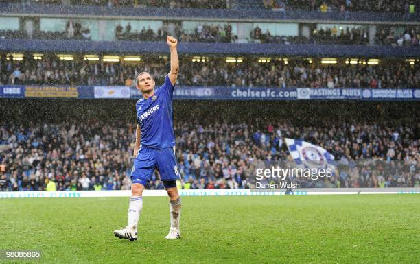 Frank Lampard of Chelsea celebrates scoring four goals after the Barclays Premier League match between Chelsea and Aston Villa at Stamford Bridge on...