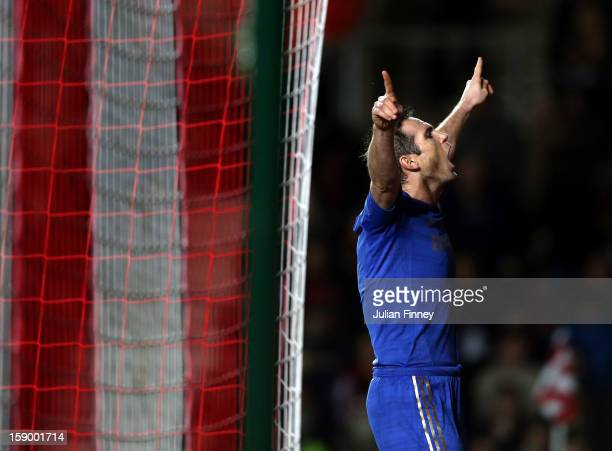 Frank Lampard of Chelsea celebrates scoring from the penalty spot and makes it 5-1 to Chelsea during the FA Cup Third Round match between Southampton...
