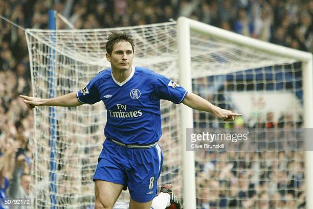 Frank Lampard of Chelsea celebrates scoring his first goal during the FA Barclaycard Premiership match between Chelsea and Southampton at Stamford...