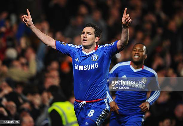 Frank Lampard of Chelsea celebrates scoring his penalty during the Barclays Premier League match between Chelsea and Manchester United at Stamford...