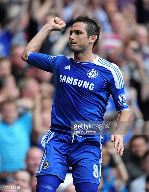 Frank Lampard of Chelsea celebrates scoring his penalty during the Barclays Premier League match between Chelsea and Norwich City at Stamford Bridge...