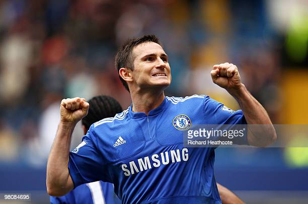 Frank Lampard of Chelsea celebrates scoring his second goal during the Barclays Premier League match between Chelsea and Aston Villa at Stamford...
