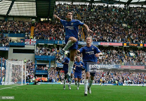 Frank Lampard of Chelsea celebrates scoring his second goal with Damien Duff during the Barclays Premiership match between Chelsea and Aston Villa at...