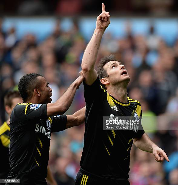 Frank Lampard of Chelsea celebrates scoring his team's first goal with Ashley Cole during Barclays Premier League match between Aston Villa and...
