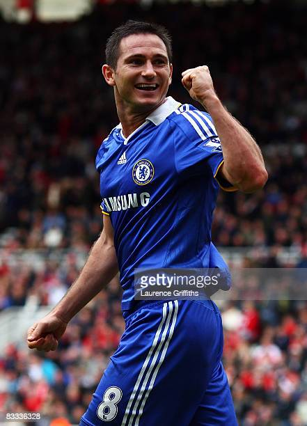 Frank Lampard of Chelsea celebrates scoring his teams fourth goal of the game during the Barclays Premier League match between Middlesbrough and...