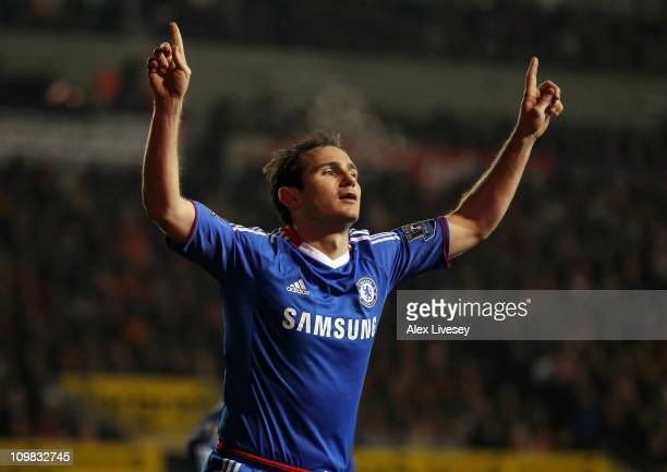 Frank Lampard of Chelsea celebrates scoring his team's second goal during the Barclays Premier League match between Blackpool and Chelsea at...