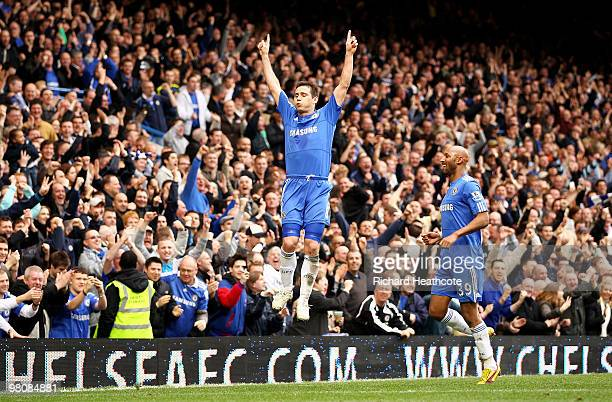 Frank Lampard of Chelsea celebrates scoring his third goal during the Barclays Premier League match between Chelsea and Aston Villa at Stamford...