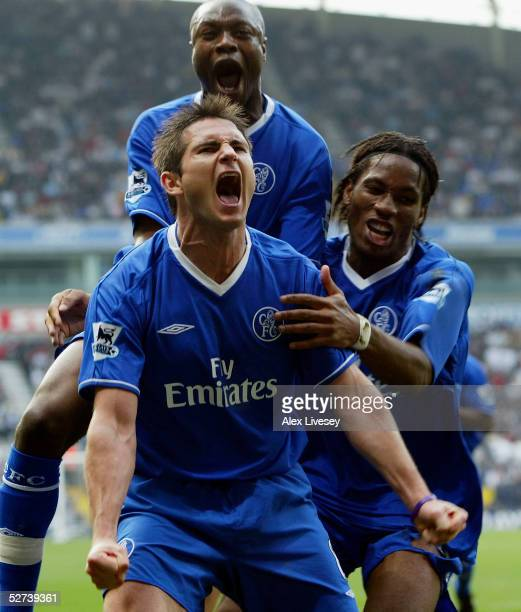 Frank Lampard of Chelsea celebrates scoring the first goal during the Barclays Premiership match between Bolton Wanderers and Chelsea at the Reebok...