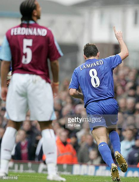 Frank Lampard of Chelsea celebrates scoring the first goal during the Barclays Premiership match between West Ham United and Chelsea at Upton Park on...