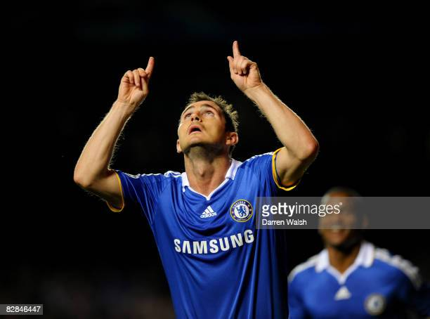 Frank Lampard of Chelsea celebrates scoring the first goal of the game during the UEFA Champions League Group A match between Chelsea and Bordeaux at...