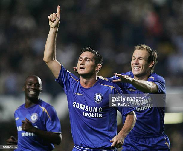 Frank Lampard of Chelsea celebrates scoring the first goal with Arjen Robbenduring the UEFA Champions League Group G match between Chelsea and RSC...