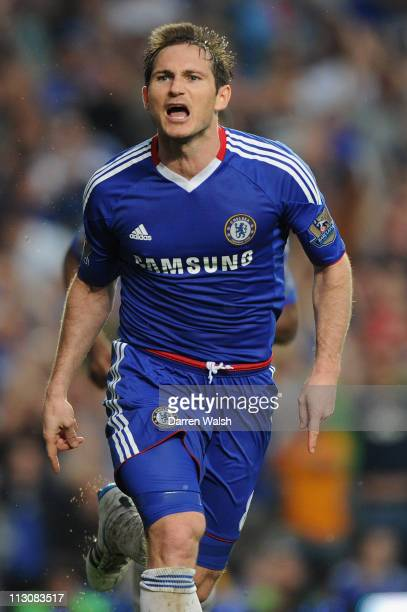 Frank Lampard of Chelsea celebrates scoring the opening goal during the Barclays Premier League match between Chelsea and West Ham United at Stamford...