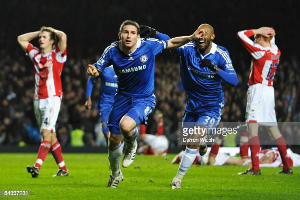 Frank Lampard of Chelsea celebrates scoring the winning goal during his 400th game for the club in the Barclays Premier League match between Chelsea...