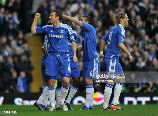 Frank Lampard of Chelsea celebrates scoring their opening goal during the Barclays Premier League match between Chelsea and Sunderland at Stamford...