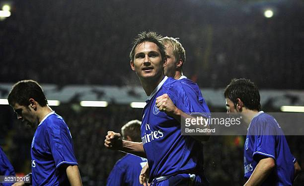 Frank Lampard of Chelsea celebrates scoring their second goal during the UEFA Champions League, First Knockout Round, Second Leg match between...