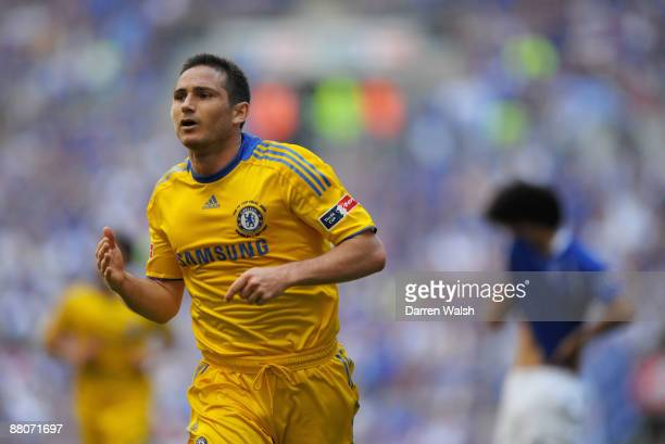 Frank Lampard of Chelsea celebrates scoring their second goal during the FA Cup sponsored by EON Final match between Chelsea and Everton at Wembley...