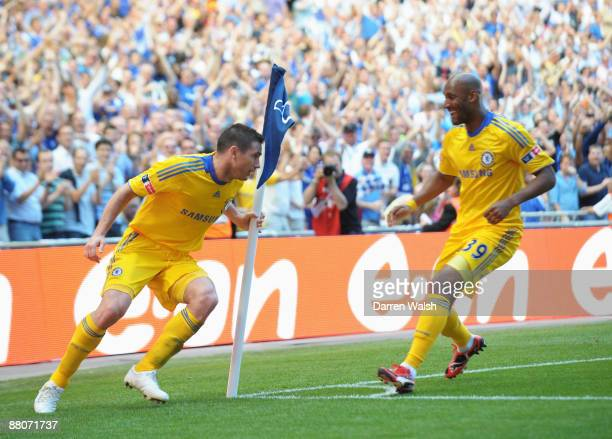 Frank Lampard of Chelsea celebrates scoring their second goal with Nicolas Anelka of Chelsea during the FA Cup sponsored by EON Final match between...