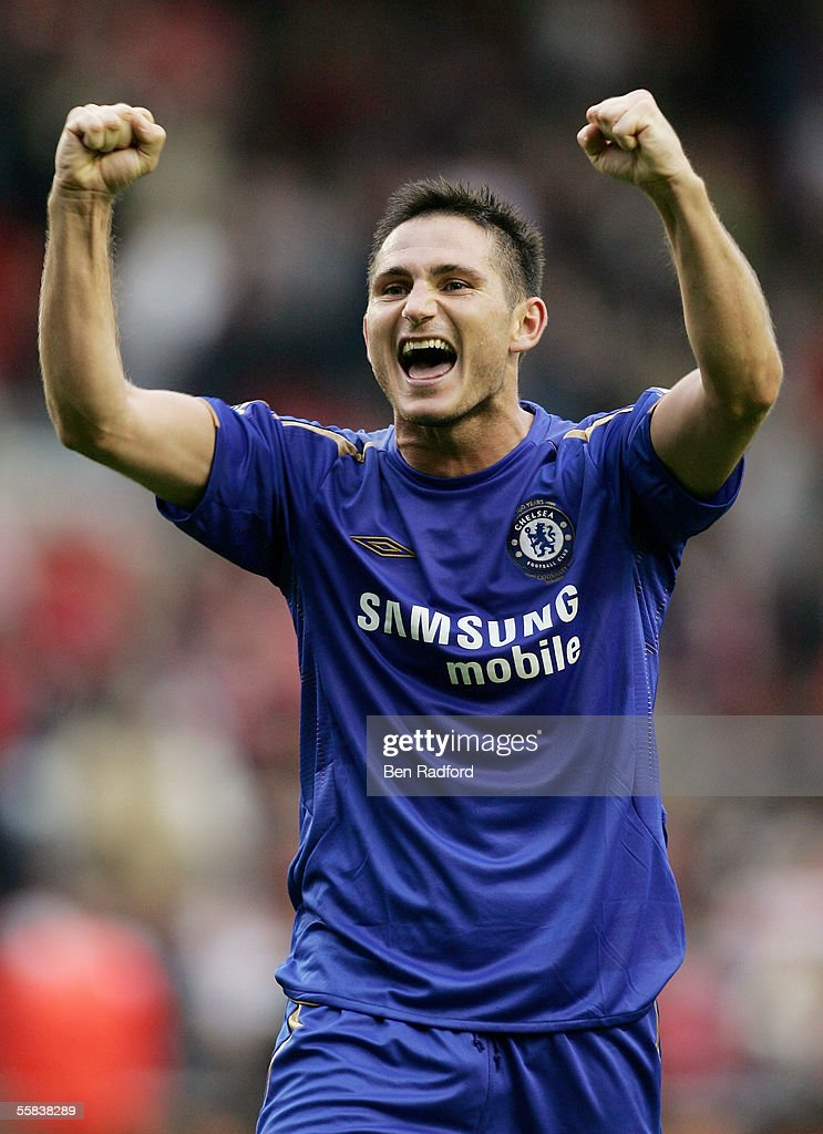 Frank Lampard of Chelsea celebrates the victory after the Barclays Premiership match between Liverpool and Chelsea at Anfield on October 2, 2005 in Liverpool, England.