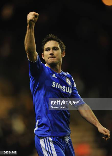 Frank Lampard of Chelsea celebrates victory after the Barclays Premier League match between Wolverhampton Wanderers and Chelsea at Molineux on...