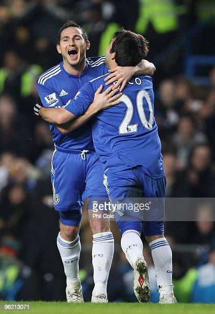 Frank Lampard of Chelsea celebrates with Deco as he scores their second goal during the Barclays Premier League match between Chelsea and Birmingham...