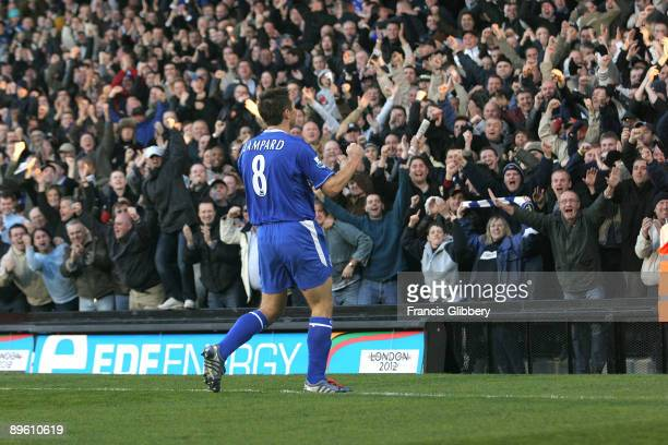Frank Lampard of Chelsea celebrates with fans after scoring during the FA Barclays Premiership match between Fulham and Chelsea held on November 13...
