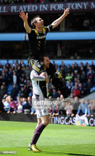 Frank Lampard of Chelsea celebrates with Peter Cech after winning Barclays Premier League match between Aston Villa and Chelsea at Villa Park on May...
