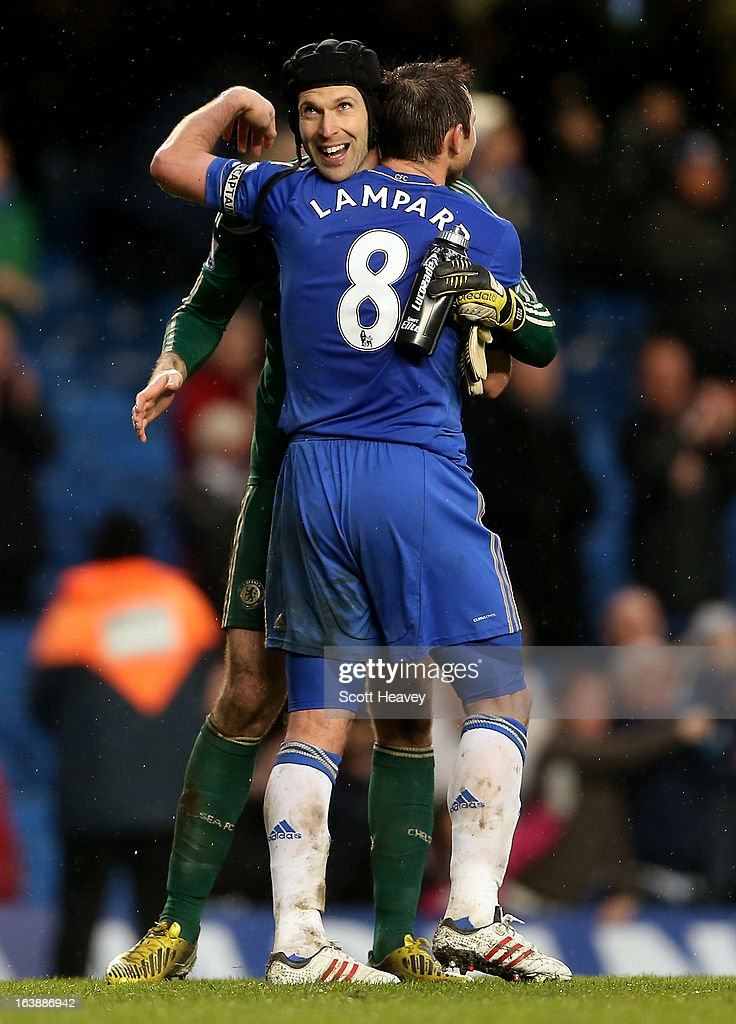 Frank Lampard of Chelsea celebrates with Petr Cech after the final whistle during the Barclays Premier League match between Chelsea and West Ham United at Stamford Bridge on March 17, 2013 in London, England.