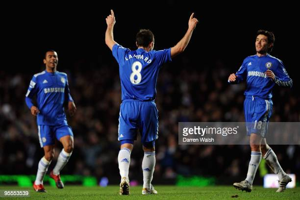 Frank Lampard of Chelsea celebrates with team mates after he scores during the FA Cup sponsored by EON Final 3rd round match between Chelsea and...