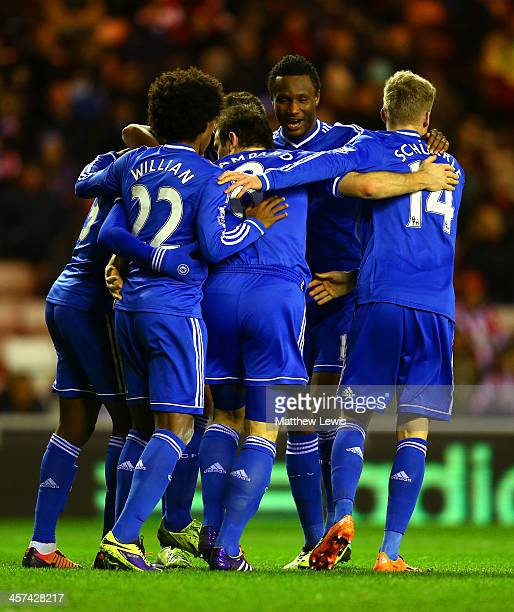 Frank Lampard of Chelsea celebrates with team mates after the opening goal during the Capital One Cup QuarterFinal match between Sunderland and...