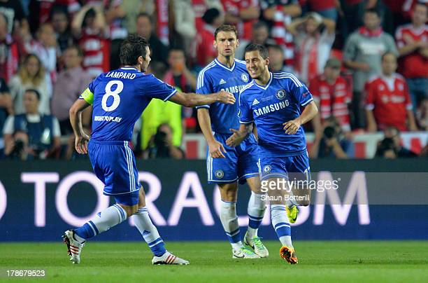 Frank Lampard of Chelsea congratulates Eden Hazard of Chelsea on scoring their second goal during the UEFA Super Cup between Bayern Muenchen and...