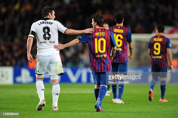 Frank Lampard of Chelsea consoles Lionel Messi of Barcelona during the UEFA Champions League Semi Final second leg match between FC Barcelona and...