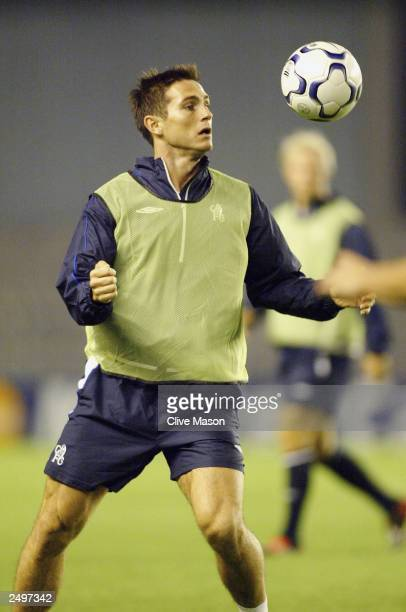 Frank Lampard of Chelsea controls the ball during the Chelsea Training session for their forthcoming game against AC Sparta Praha at the Letna...