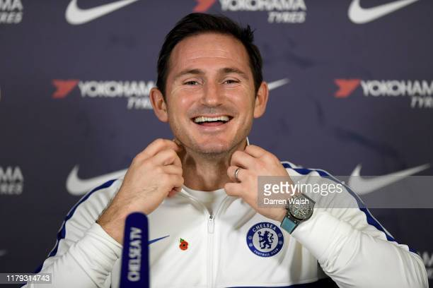 Frank Lampard of Chelsea during a press conference at Chelsea Training Ground on November 1 2019 in Cobham England
