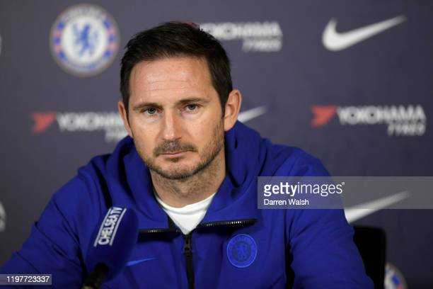 Frank Lampard of Chelsea during a press conference at Chelsea Training Ground on January 31 2020 in Cobham United Kingdom
