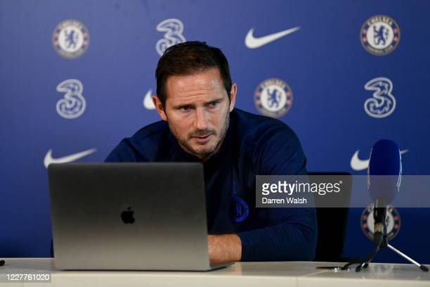 Frank Lampard of Chelsea during a press conference at Chelsea Training Ground on July 24, 2020 in Cobham, England.