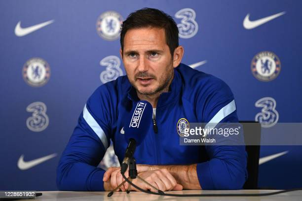 Frank Lampard of Chelsea during a press conference at Chelsea Training Ground on September 22, 2020 in Cobham, England.