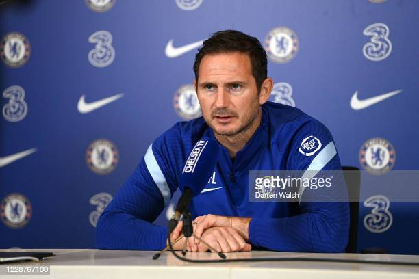 Frank Lampard of Chelsea during a press conference at Chelsea Training Ground on September 28 2020 in Cobham England