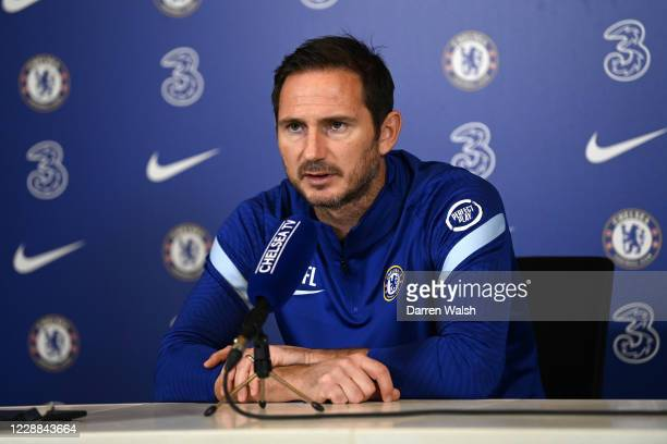 Frank Lampard of Chelsea during a press conference at Chelsea Training Ground on October 2 2020 in Cobham England