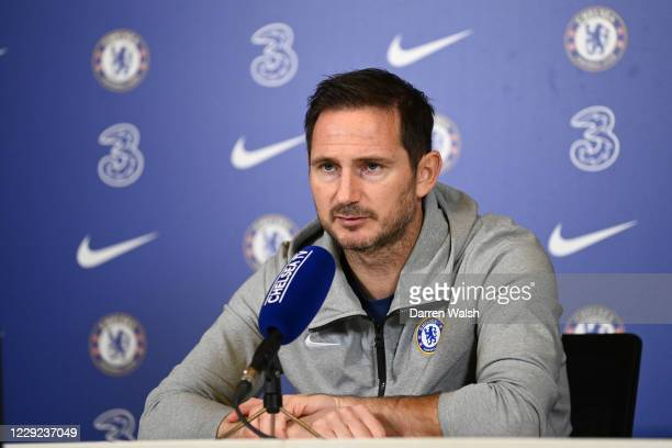 Frank Lampard of Chelsea during a press conference at Chelsea Training Ground on October 23, 2020 in Cobham, United Kingdom.