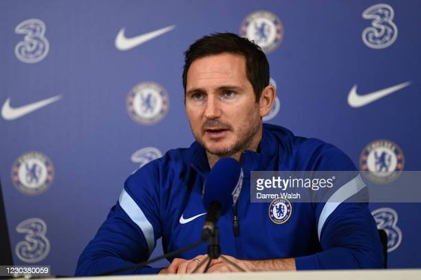 Frank Lampard of Chelsea during a press conference at Chelsea Training Ground on January 1, 2021 in Cobham, England.